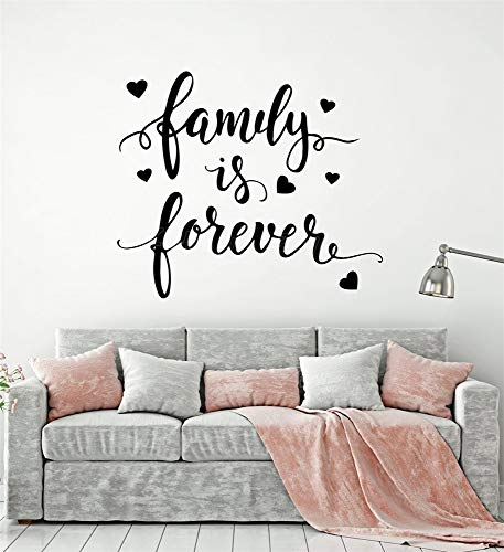 Jiesa Decals Stickers Wall Words Sayings Removable Lettering Romantic Sweet Quote Words for Home Family Forever Living Room Bedroom Entryway -