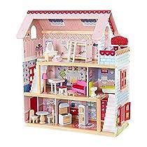 KidKraft Chelsea Doll Cottage Casa de muñecas de madera con muebles y accesorios incluidos, 3 pisos, para muñecas de 30 cm , Rosa, 65054