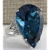 Fashion Women Elegant 925 Silver Dark Blue Sapphire Gemstone Wedding Ring 6-10 (9)
