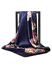XIAO-WU Fashion Silky Square Scarf Women's Vintage Floral Print Head Large Shawl Wraps - 6# Navy