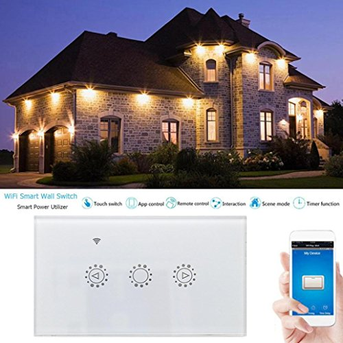 Switch Capacitive Hand Switch Wireless Remote Control Glass 3-gang Smart Home AU/US Crystal Waterproof Glass Touch Screen Light Switch&Mini Remote (White) by Liu Nian (Image #7)