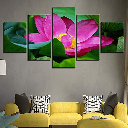 Ssckll Canvas Hd Print Pictures Home Decor Wall Art 5 Pieces Pink Lotus Flower Painting Modular Living Room Water Lily Poster-Frameless