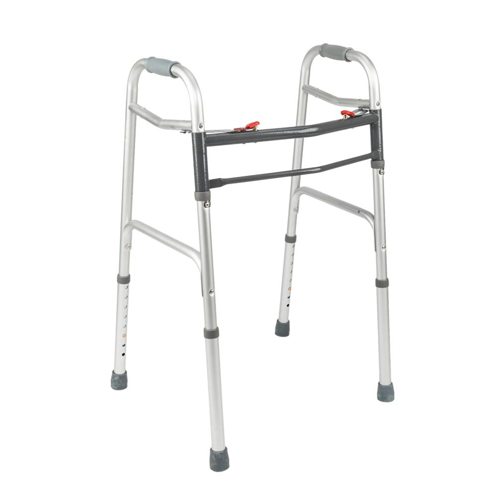 Mefeir Easy Folding Standard Walker w/Push Button-Safety Mobility Aid for Adult, Senior, Elderly&Handicap, Lightweight, Portable, Adjustable Height, Ultra Convenient, Silver&Gray