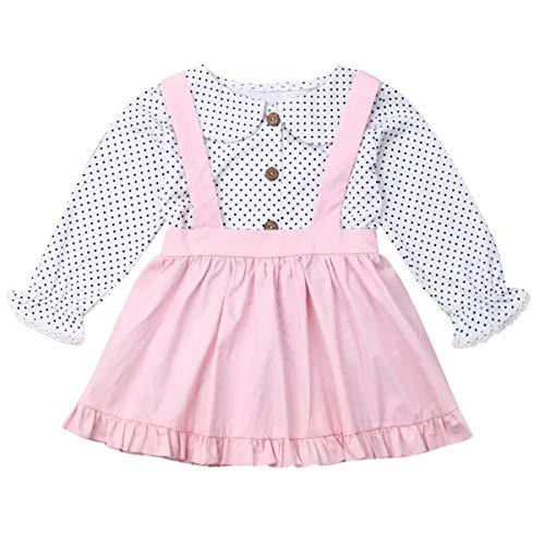 YOUNGER TREE Toddler Girl Outfits 1-4 T Long Sleeve Shirt Overall Skirt Headband Set School Uniform Dress (Polka Dot Top+ Pink Suspender Skirt Set, 6-12 Months)