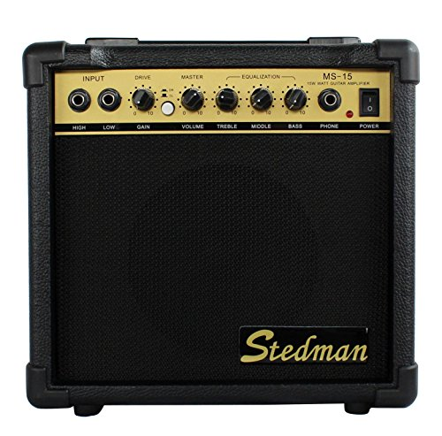 Vizcaya 15-Watt MS-15 Electric Bass Guitar Combo Amplifier with Boost Switch and 1/4