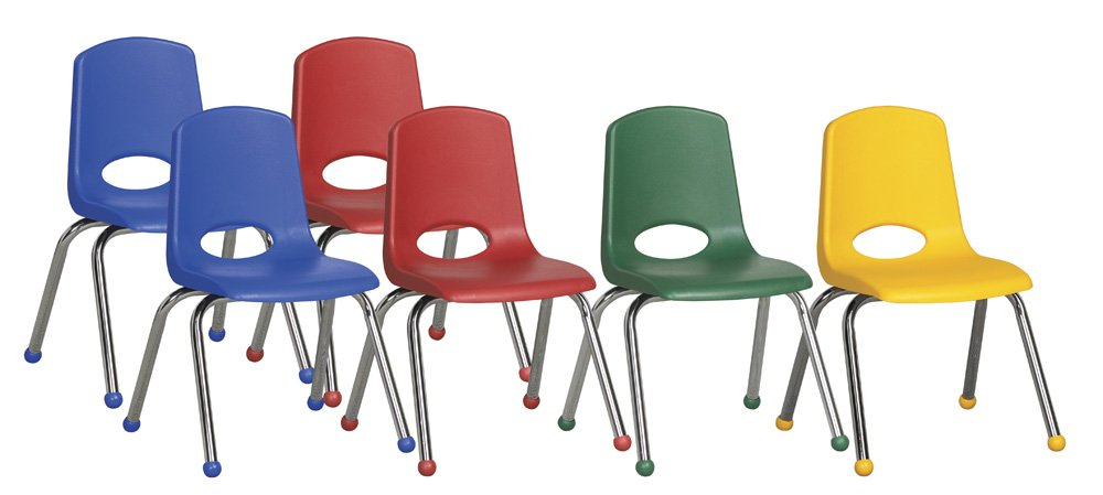 ECR4Kids 14'' School Stack Chair, Chrome Legs with Ball Glides, Assorted (6-Pack) by ECR4Kids