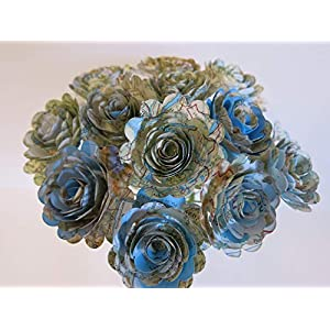 "Scalloped World Atlas Roses, 1.5"" Paper Flowers on Stems, One Dozen, Travel Theme Birthday Party Decor, Wedding Decor, Bridal Shower Centerpiece, Map Flowers 98"