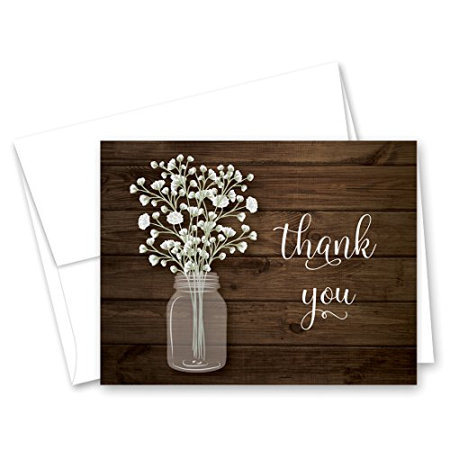 MyExpression.com 50 Baby Breath in Mason Jar Wedding Thank You Cards + Envelopes