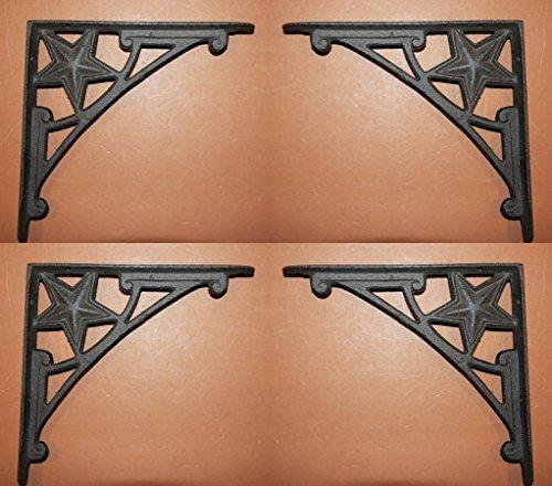 Texas Ranch Wall Shelf Brackets Cast Iron Lone Star, 7 1/2 inch, B-36 Set of 4