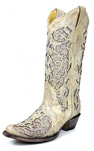 Corral Women's Glitter Inlay & Crystals Boot - White  - WHITE - 7.5 - M by CORRAL