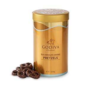 Godiva Chocolatier Assorted Milk Chocolate Covered Pretzels Gift Canister, 66-Pieces