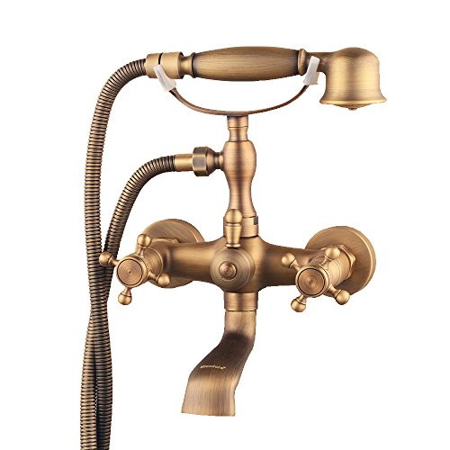 Hiendure Bathroom Wall Mounted Mixer Tub Filler Shower Faucet Sets,Telephone Shaped Handheld Shower Tub Faucet,Double Crosss Handle Brass Double Handle Shower