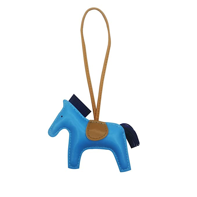 Rodeo Bag Charm for Women Purse Charm Horse Leather Keychain Handbag  Accessories (bluebrown) 5f022c8946