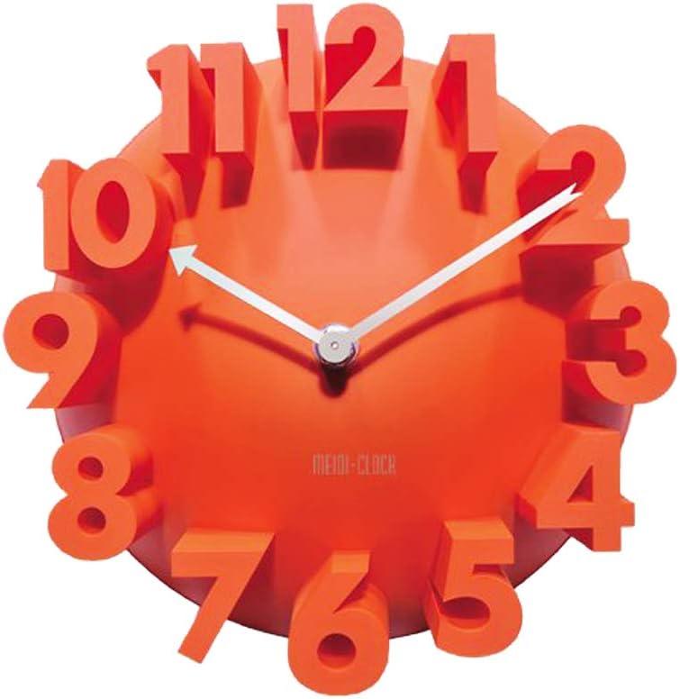 GCA 3d Big Digital Modern Contemporary Home Office Decor Round Quartz Wall Clock Orange