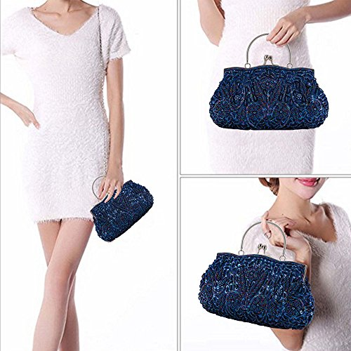 Handbag Women's Evening Vintage Wedding Purse LONGBLE Beaded Sequined Lock Bag Clutch Party Blue Kissing Style zqSd5X