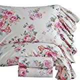 Queen's House French Country Ruffled Bed Sheets and Pillowcases 4-Piece Queen Size-Style E
