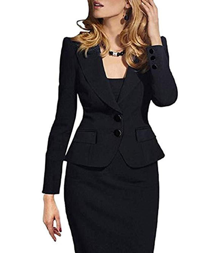 SEBOWEL Ladies 2 Button Long Sleeve Work Casual Jackets Blazers Suits Black M