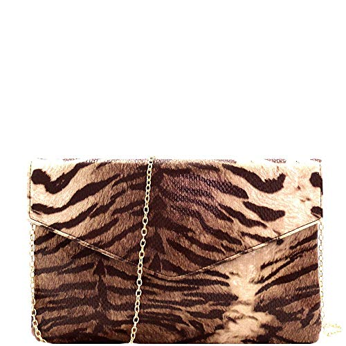 Transparent Clear Layered Leopard Print PU Leather Studded Clutch Purse with Chain Strap (Matte Tiger - Brown)