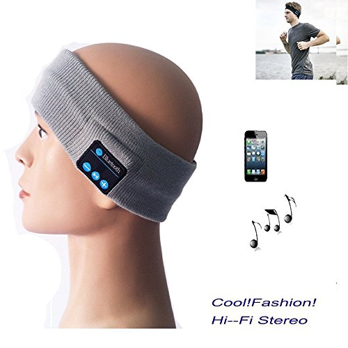 2.4 Ghz 4 Handset (Megadream Bluetooth 4.0 Sport Sweat Absorbed Knitted Headband Strap with Music Plays/ Handsfree Function for Indoor Yoga Exercise Gym Outdoor Running Walking Cycling Fishing Skiing - Gray)