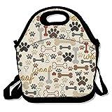 Dog Bones & Paw Prints Cream Lunch Box Tote Bag