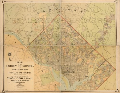 1891 Map of the District of Columbia and adjacent portions of Maryland and Virginia - Size: 18x24 -