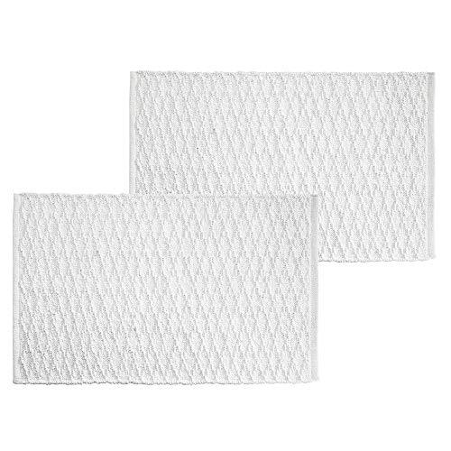 (mDesign Soft 100% Cotton Luxury Hotel-Style Rectangular Spa Mat Rug, Water Absorbent, Diamond Design - for Bathroom Vanity, Bathtub/Shower, Machine Washable - 34