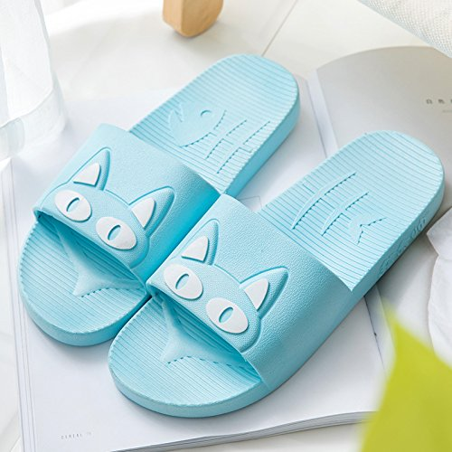 cool summer fankou women blue slip Slippers male with slippers 35 white lovely bath cat sky home cartoon and indoor bathroom 36 anti home summer couples trr6q