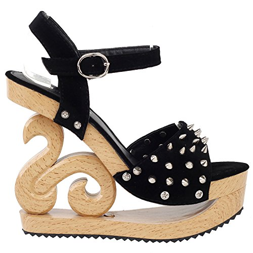 SHOW STORY Women's Black Open Toe Stud Spikes Strappy Platform Party Sandals,LF30830BK40,9US,Black