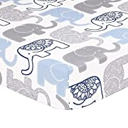Grey, Navy Blue Elephant Print Fitted Crib Sheet - 100% Cotton Baby Boy Jungle Animal Theme Nursery and Toddler Bedding