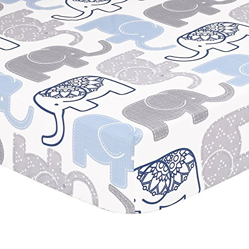 Grey, Navy Blue Elephant Print Fitted Crib Sheet - 100% Cott