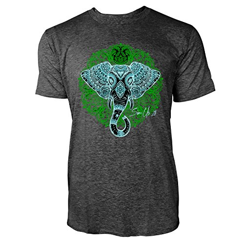 SINUS ART ® Elefantenkopf mit Vintage Ornamenten Herren T-Shirts in dunkelgrau Fun Shirt mit tollen Aufdruck
