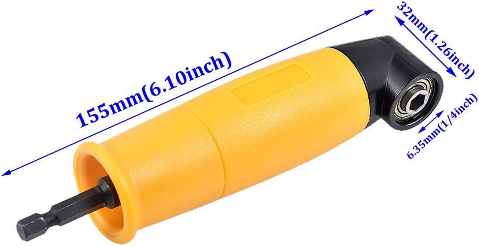 soporte para hembrilla y extensi/ón de /ángulo flexible. broca adaptador de broca hexagonal de 1//4 pulgadas extensi/ón de v/ástago hexagonal destornillador Adaptador de /ángulo de 90 grados