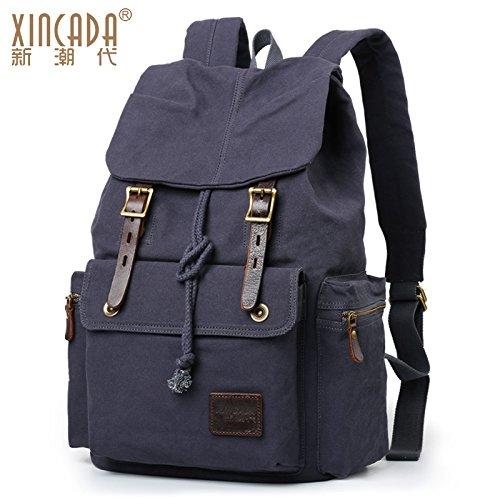 Paquete de bolsa de lona SunBao bolsas de hombro doble bolsa de viaje de ocio retro hombres estudiantes universitarios turismo masivo paquete masculino mochila PC, negro y gris.