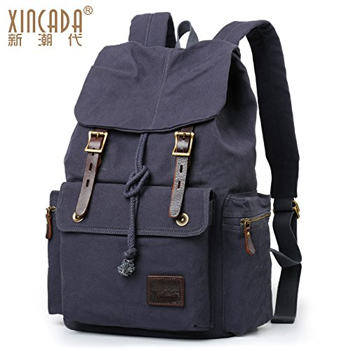 bag turismo di leisure massa universitari borsa Zaino e travel tela tracolla di uomini doppia scuro PC grigio il SunBao pacchetto Grigio per maschio confezione borse retrò studenti nero PwaUzxzq5