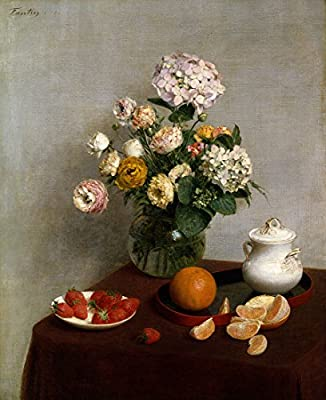 Still Life Vase Of Hydrangeas And Ranunculus By Henri Fantin-Latour. 100% Hand Painted. Oil On Canvas. Reproduction. (Unframed and Unstretched).