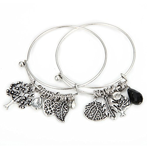1 Set 2 Pcs Tree of Life Leaves Feather Rhinestone Pendant Bangle Bracelet (Silver) (Ideas For Couple Halloween Costumes)
