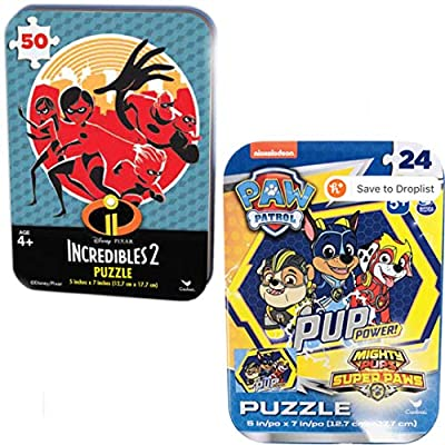 6 Collectible Puzzle Tins Ages 5+ Gift Set Bundle Lion King Paw Patrol Cars Toy Story 4 Incredibles 2 Marvel Avengers 24/50 Pieces: Toys & Games