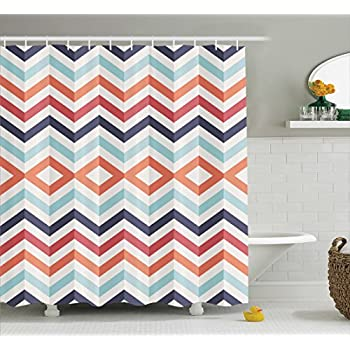 Chevron Shower Curtain Geometric Print Decor By Ambesonne, Zig Zag Lines  And Chevron Stripes Design