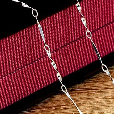 925 Women's Batch Angle Chain Necklace ( Color : Silver )