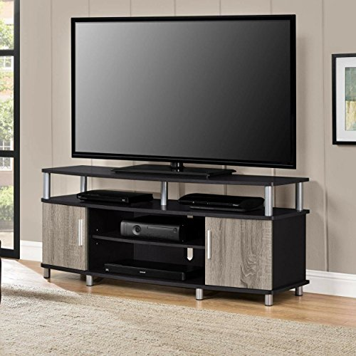 Adjustable Shelves Contemporary Style 50'' TV Stand, Black/Sonoma by Ameriw00d Home