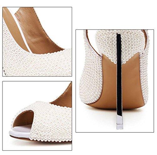 Stiletto Sandaletten Weiße Hochzeitsschuhe Sexy Perlen Schuhe BFMEI Damen qw0ZYI