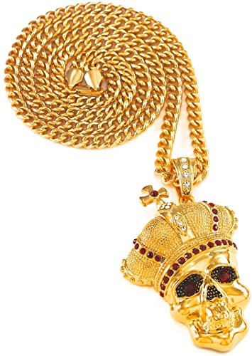 GWOOD Skull With Crown Ruby Red Eyes Necklace Gold Color With Red Stones Iced Out Pendant 36 Inch Cuban Link Chain