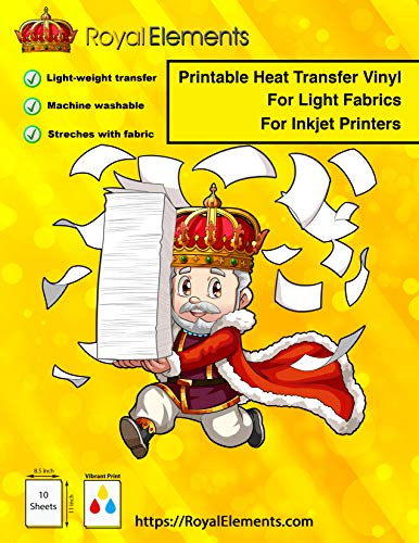 Royal Elements Printable HTV T-Shirt Transfer Paper for Light Fabrics - Heat Press and Iron-on Compatible - 10 Heat Transfer Vinyl Sheets for Inkjet Printers
