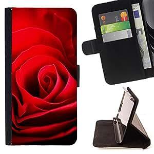 - Rose Valentines Darling Red - Estilo PU billetera de cuero del soporte del tir???¡¯???3n [solapa de cierre] Cubierta- For Samsung Galaxy S4 Mini i9190 ( Devil Case )