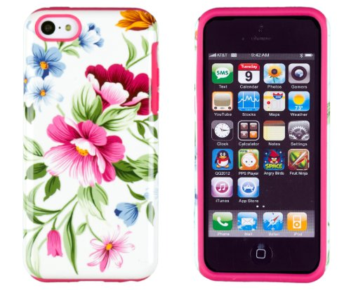 Flower Cell Phone (DandyCase 2in1 Hybrid High Impact Hard Pink & Blue Flower Pattern + Silicone Case Cover For Apple iPhone 5C + DandyCase Screen Cleaner (Pink & Blue))