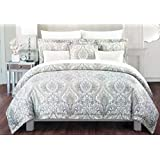Cynthia Rowley Bedding 3 Piece Full/Queen Duvet Cover Set Light Blue Beige Tan White Floral Medallion Pattern