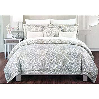 light ac bedding amazon cover duvet medallion com queen full white tan bed set cynthia dp blue rowley pattern beige piece
