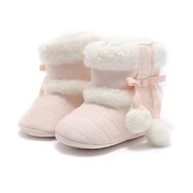 Baby Shoes Booties Snow Boots Infant Boy Girls Soft Sole Hairball Crib Shoes Soft Warm Footwear