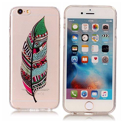 iPhone 6 6S Hülle, Modisch Farbe Blatt Transparent TPU Silikon Schutz Handy Hülle Handytasche HandyHülle Etui Schale Schutzhülle Case Cover für Apple iPhone 6 6S