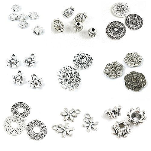 Snowflake Tag Charm - 32 Pieces Antique Silver Tone Jewelry Making Charms Flower Spacer Bead Caps Snowflake Ear Drop Tag Rose Daisy Plum Round Signs Loose Beads Star